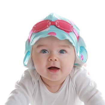 Baby's Pilot Sun Hat With Googles Pink