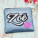 Personalised Glitter Grafitti Style Clutch Bag