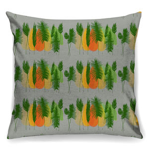 Grey Retro Trees Designer Cushion + Waterproof