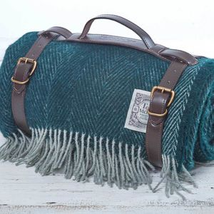 Luxury Picnic Blanket In Spruce Or Peacock - throws, blankets & fabric