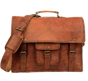 Vintage Style Brown Leather Laptop Satchel - bags & purses