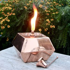 Square Copper Tabletop Oil Lantern - new in garden