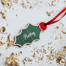 Personalised Wood Christmas Decoration Holly
