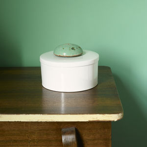 Ceramic Pot With Vintage Wooden Lid