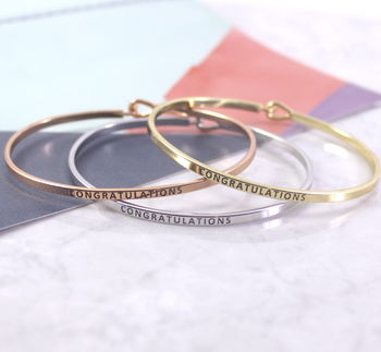 Congratulations Engraved Stacking Cuff Gift Bangle