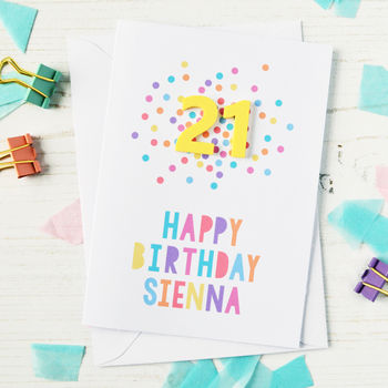 Personalised Acrylic Confetti Birthday Age Card