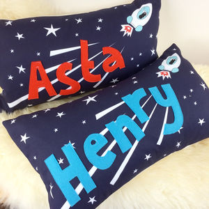 Space Children's Personalised Cushion