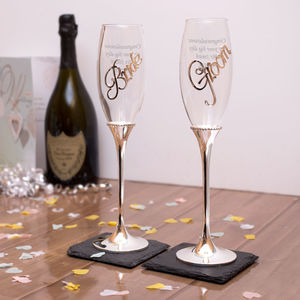Personalised Bride And Groom Champagne Flutes - drink & barware