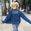 Kids Personalised Denim Jacket Black And White Letters