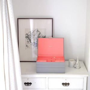 Dove Grey With Coral Supersize Jewellery Box - jewellery storage & trinket boxes