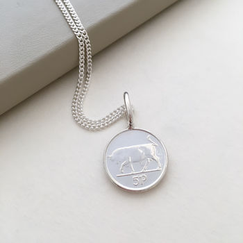 Irish 5d Coin Charm With Bull On 16' Chain