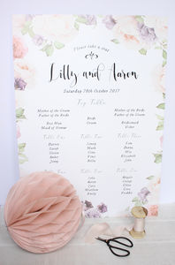 Summer Garden A2 Table Seating Plan - wedding stationery