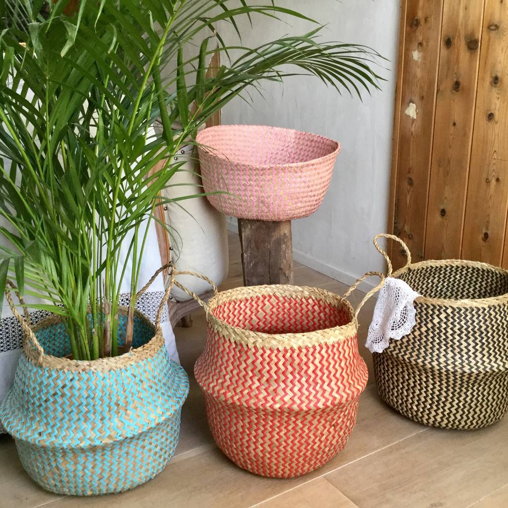 Deep Seagrass Basket Storage Log Basket Planter By