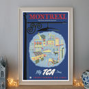 Vintage Montreal North America Fly Tca Travel Poster