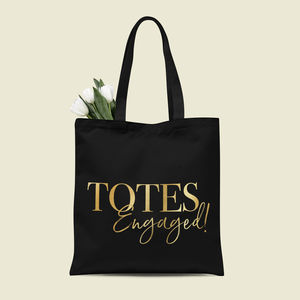 Bride To Be Engagement Tote Bag - monochrome & metallic hen party