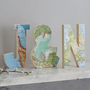 Set Of Three Map Wedding Anniversary Wooden Letters - 5th anniversary: wood