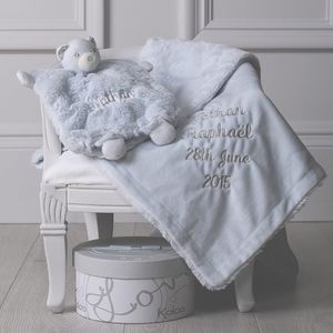 Personalised Christening Blanket And Comforter Set