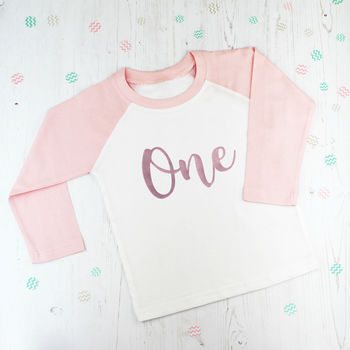 Baby Girl's First Birthday Rose Gold T Shirt