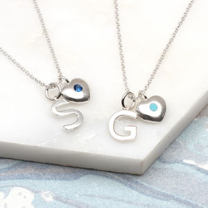 Birthstone Sterling Silver Initial Necklace