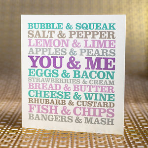 You And Me Anniversary Card - wedding, engagement & anniversary cards