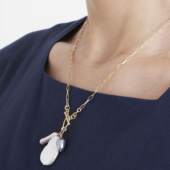 Camille Three Pearl And Gold Chain Necklace