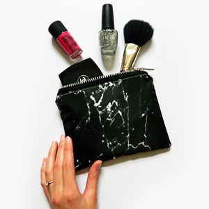 Black Marble Mini Make Up Bag
