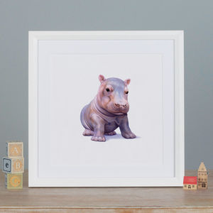 Illustrated Hippo Print