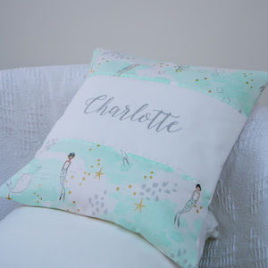 Mermaid Name Cushion - children's room