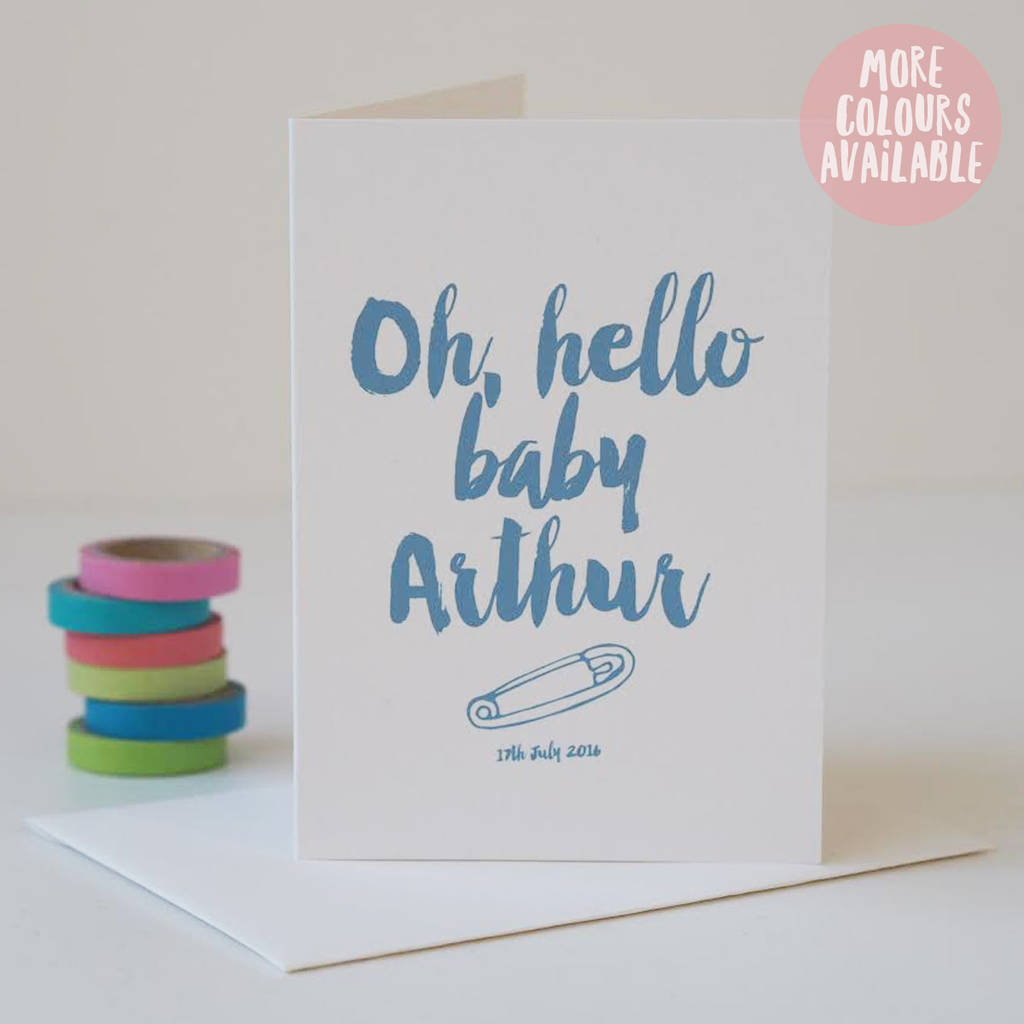 Oh Hello Baby Personalised New Baby Boy Or Girl Card By Sweetlove