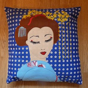 Embroidered Geisha Cushion Cover - sale by category