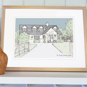 Personalised Colourwash Style House Illustration