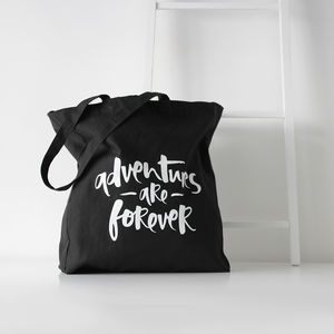 'Adventures Are Forever' Cotton Canvas Tote Bag