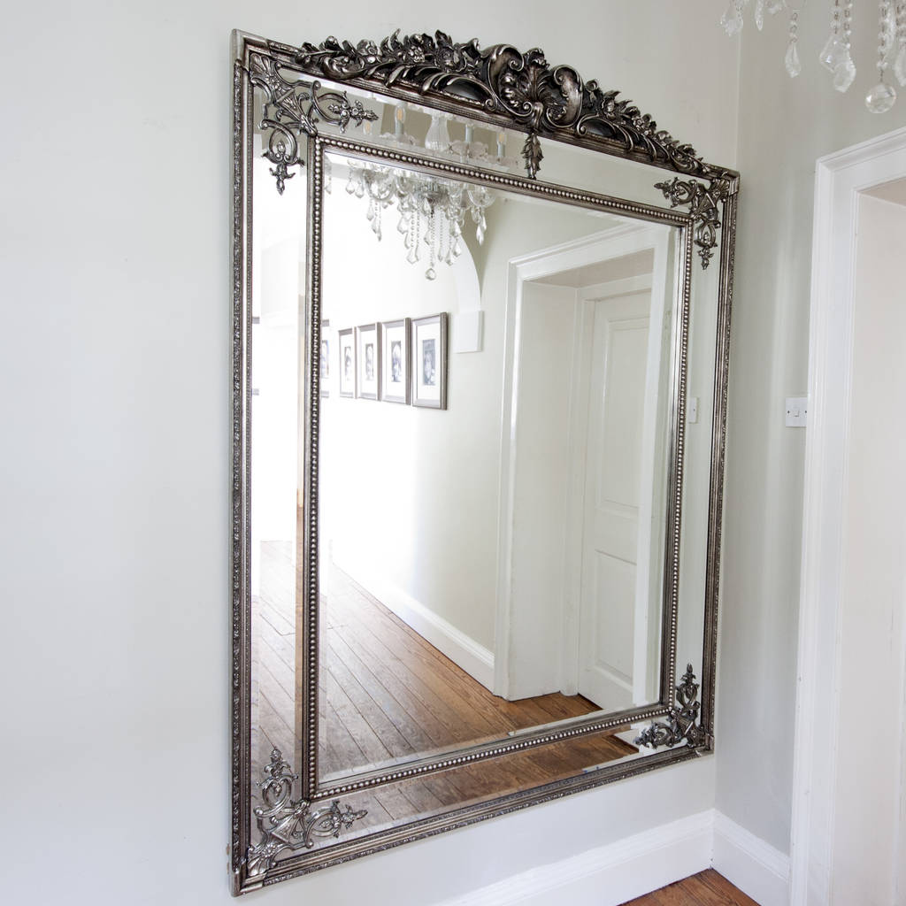 large silver french style mirror by decorative mirrors ...