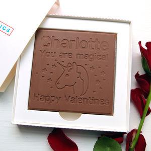 Personalised Valentine's Unicorn Chocolate Card