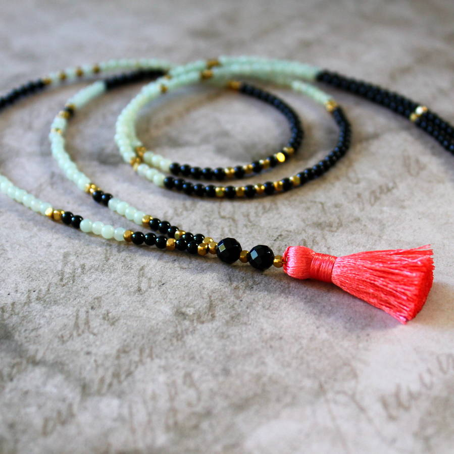 Tassel Necklace With Semi Precious Stones
