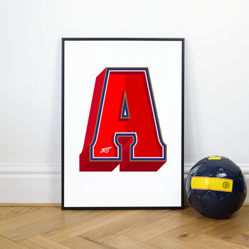 Arsenal Typography Prints, A For Arsenal