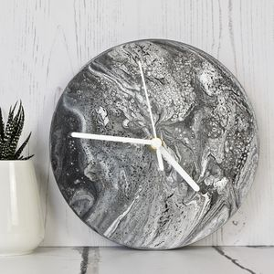 Monochrome Abstract Painting Clock