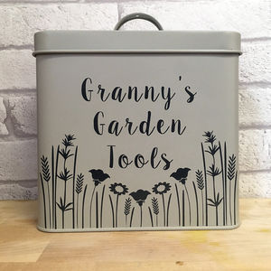 Personalised Garden Storage Tin - mum loves gardening