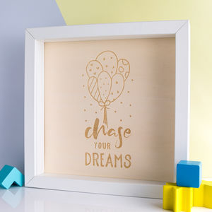 Chase Your Dreams Engraved Wood Box Frame