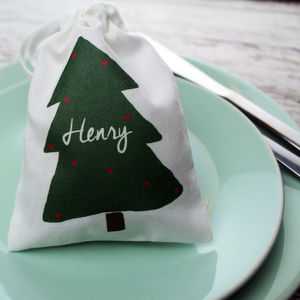 Personalised Green Christmas Tree Mini Bag