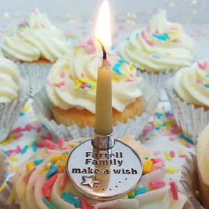 Personalised Silver Family Birthday Candle Holder