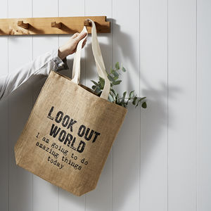 'Look Out World' Jute Shopping Bag - gifts for teachers