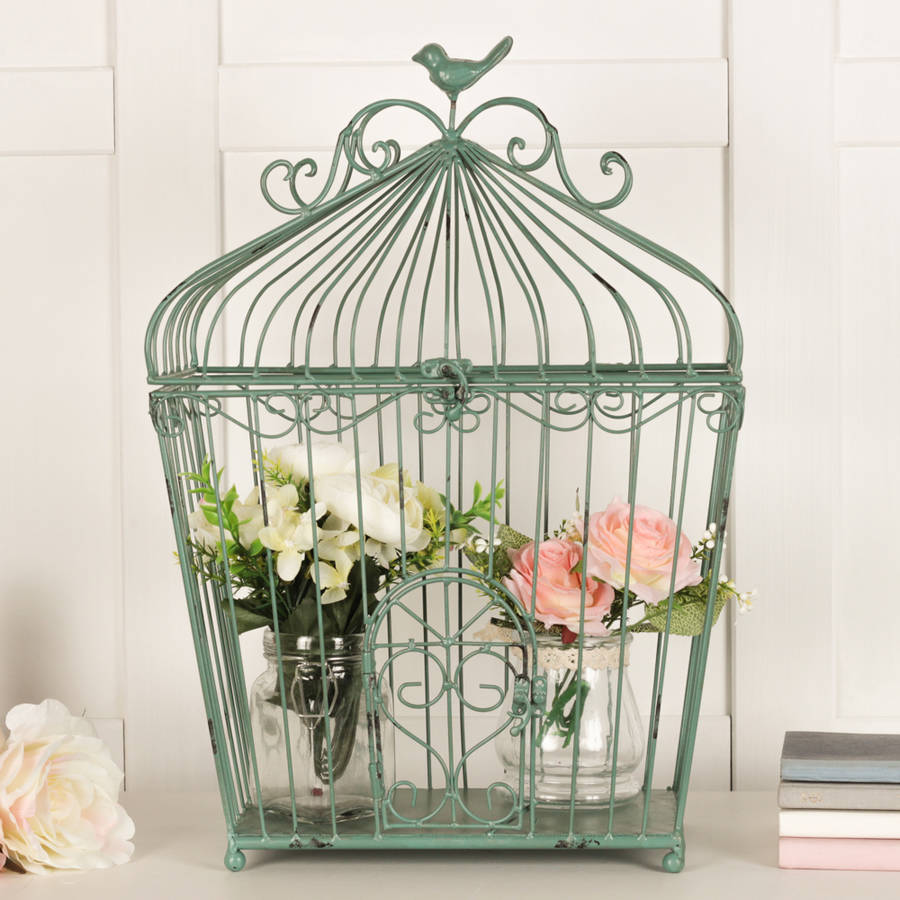 Asparagus green decorative cage by dibor for Cage d oiseau decorative