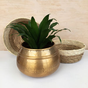 Hammered Gold Aluminium Plant Pot