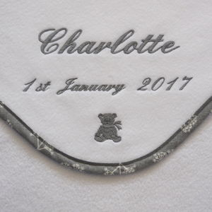 Personalised Baby Blanket With Cow Parsley Design Trim