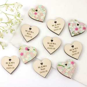 Personalised Floral Wedding Favour Hearts - message token favours