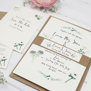 'Louisa' Watercolour Wedding Invitation Suite - invitations