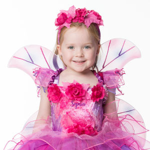 Children's Fuchsia Fairy Dress Personalised
