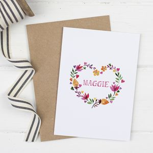 Personalised 'Floral Heart' Card For Her