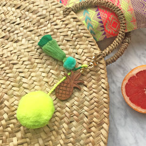 Tropical Wood And Pompom Keyring Bagcharm